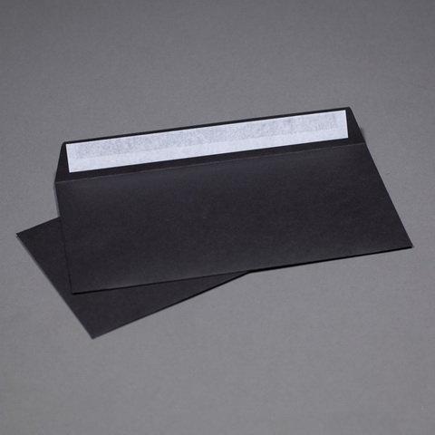 Конверты черные C65, 114x229, 120г/м2, прямой клапан, лента, 100шт/уп