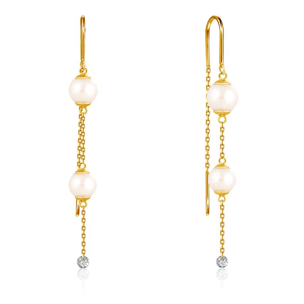 Серьги-продевки из желтого золота с бриллиантами, жемчугом Акойя