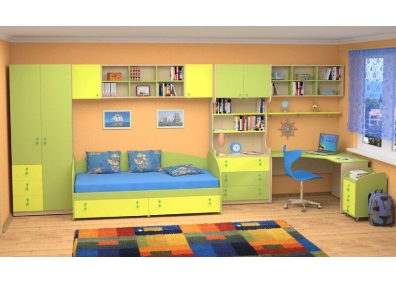 Набор мебели в детскую комнату фабрики Стиль Белоснежка-7 (шкаф, кровать, стол, полки)