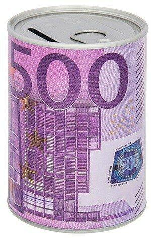 """Копилка - банка """"Евро"""", металлическая, 7,6x7,6x11 см"""