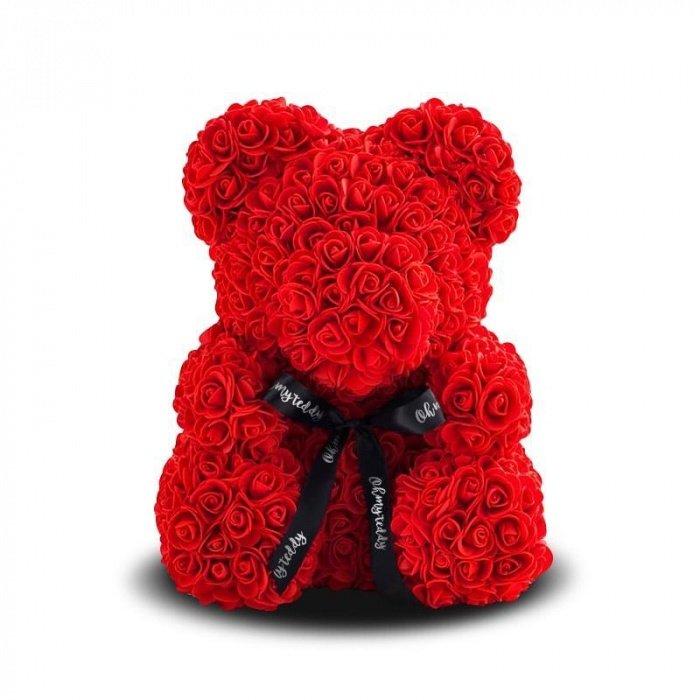 Мишка из роз 3D 40см (Красный)