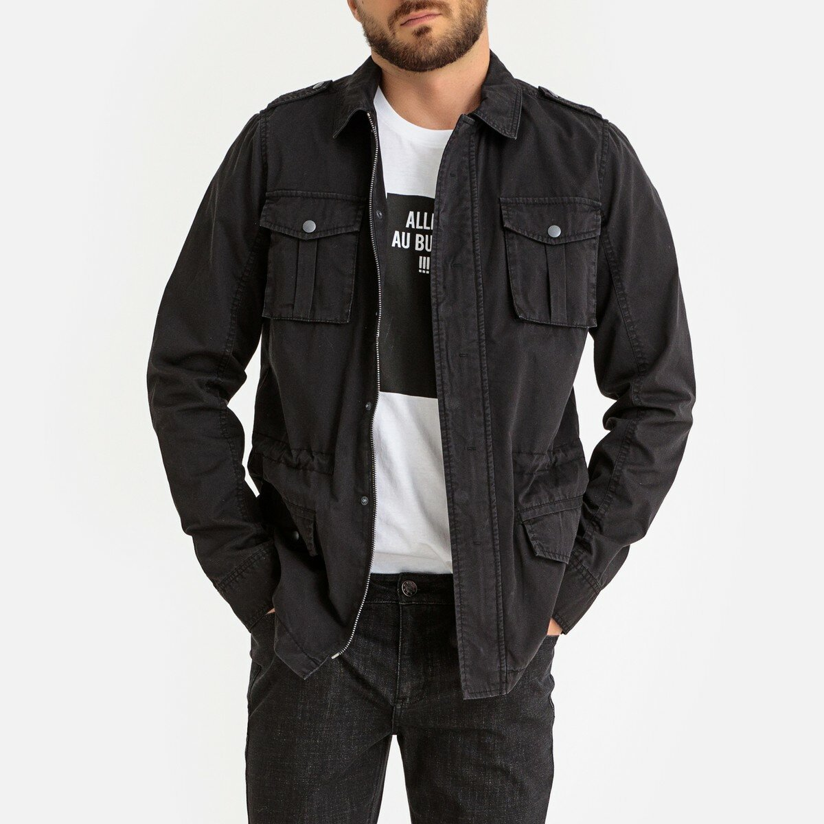 Куртка La Redoute В стиле милитари с карманами S зеленый