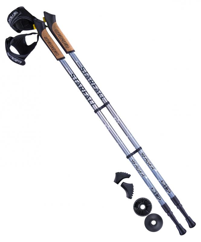 Палки для скандинавской ходьбы BERGER Starfall, 77-135 см, 2-секционные, серый/чёрный/белый