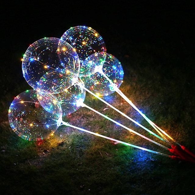 Светящийся воздушный шар Bobo со светодиодами LED на палочке
