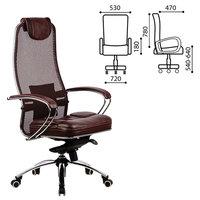 """Кресло офисное метта """"SAMURAI"""" SL-1, кевларовая ткань-сетка/кожа, темно-коричневое, 09942 Метта"""