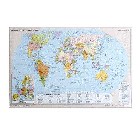 Коврик на стол ДПС 380х590 мм с картой мира, 2129.М