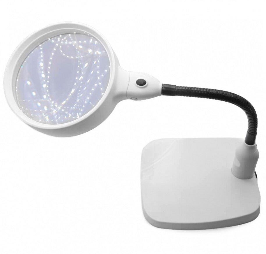 Лупа настольная на гибком штативе с LED подсветкой Magnifier 8x 138мм 7765