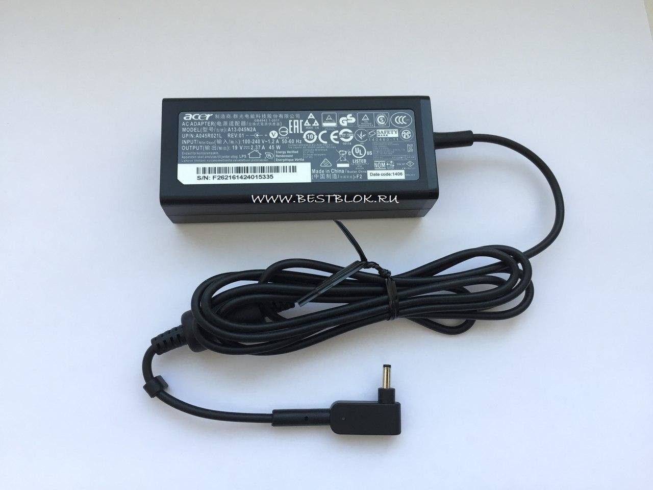 Адаптер блок питания для ноутбука ACER ADP-45HE B A13-045N2A PA-1450-26 Aspire R7-371T-55XH R7-371T-52XE R7-372T-553E-520Q V3-331-P877 V3-371 V3-372 19V-2,37A 45W (3,0*1,1mm)