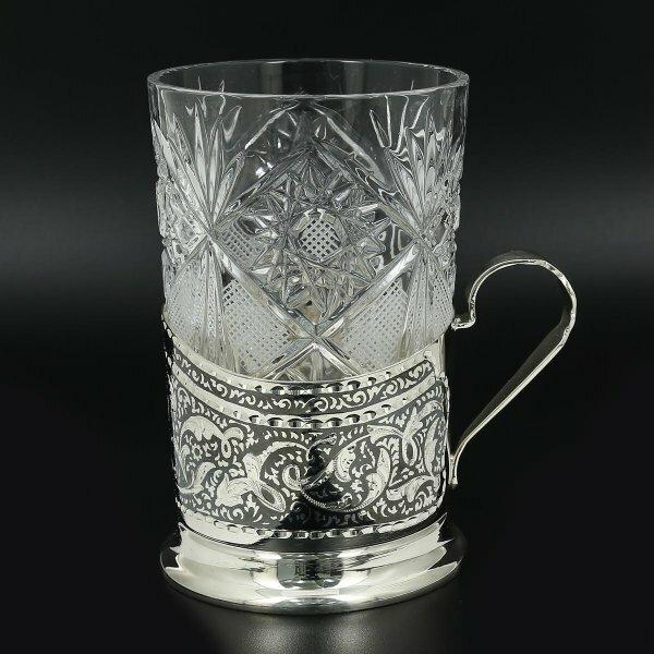 Серебряный подстаканник Кубачи (стакан и коробка - в подарок) арт.11010