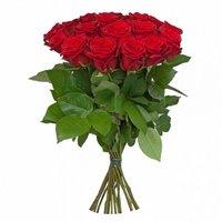 Букет из 15 красных роз, длинна 70см, производство Россия