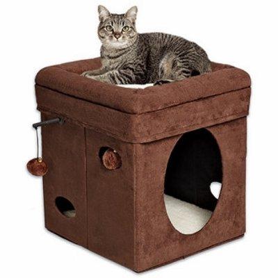 Домик-лежанка для кошки MIDWEST Currious Cat Cube складной 38,4х38,4х42h см