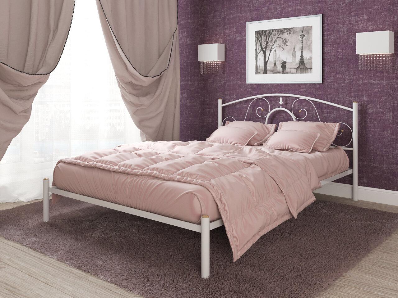 Кровать двуспальная металлическая 140x200 ESМебель flame Ларго (Белый глянец)