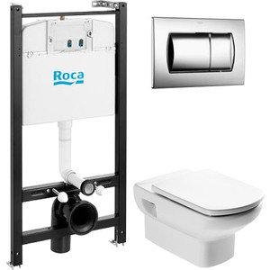 Комплект Roca Dama Senso ПЭК унитаз подвесной с микролифтом + инсталляция, кнопка хром (893104090)