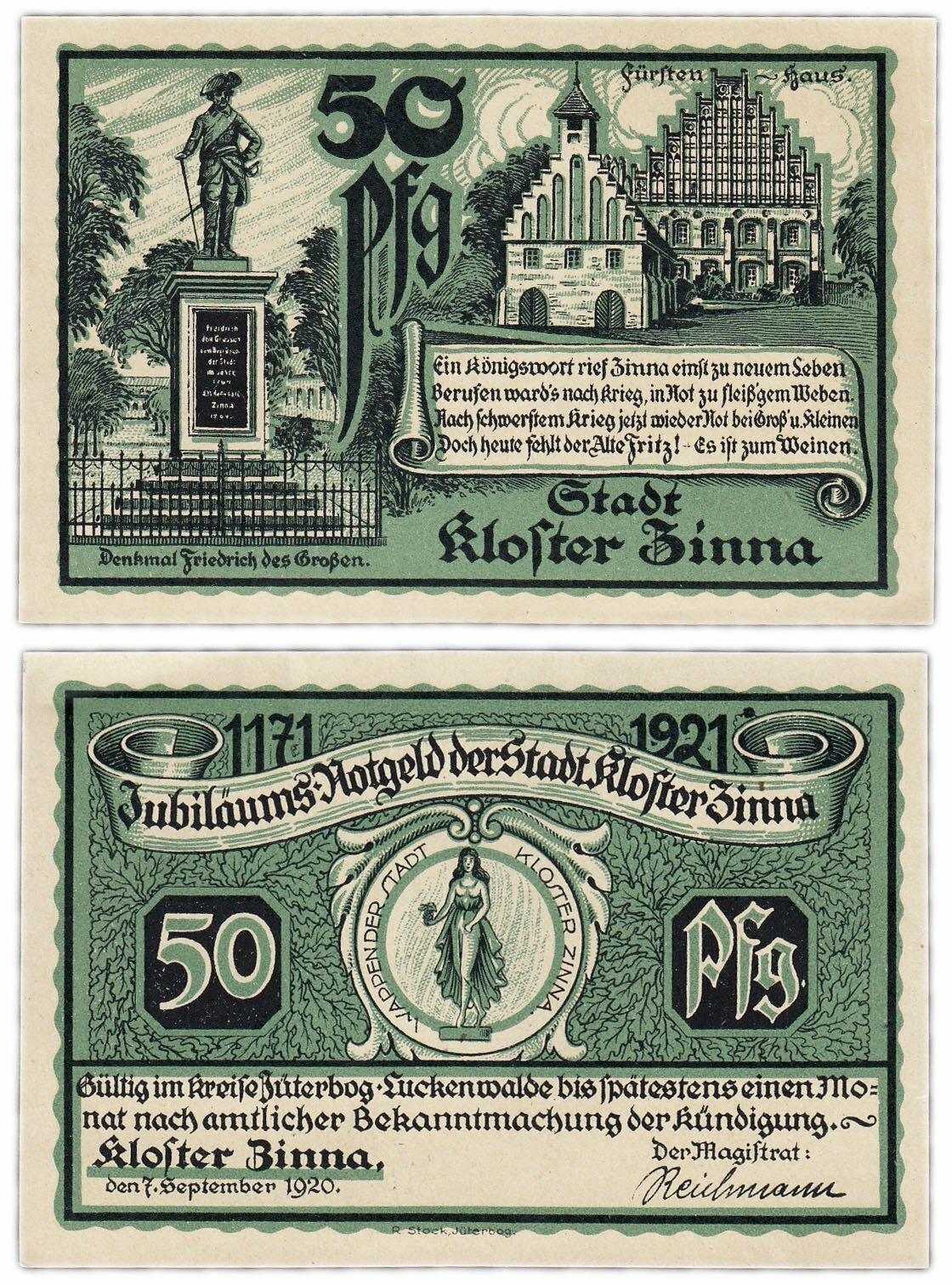 Банкнота Германия (Бранденбург: Клостер-Цинна) 50 пфеннигов 1921