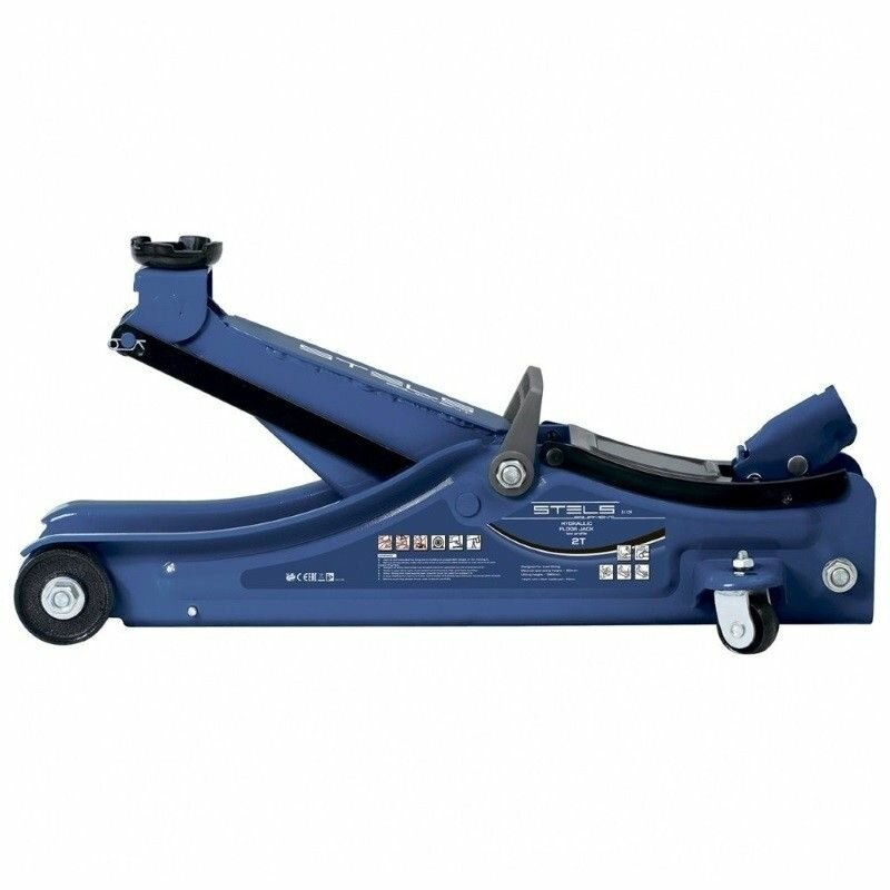Домкрат Stels 51130 с гидравлической подкаткой с низким подхватом 2т 80-380мм в пласт кейсе