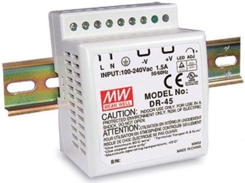 Преобразователь AC-DC сетевой Mean Well DR-4524 45Вт, Uвх=85-264VAC (120-370VDC), один выход 24В/2А, подстр. Uвых=-5/+10%, DIN-рейка, изоляция 3кVAC