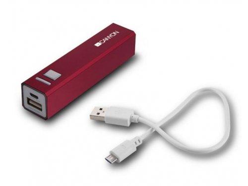 Аккумулятор универсальный Canyon Мобильный аккумулятор CNE-CSPB26R, 2600 mAh, красный