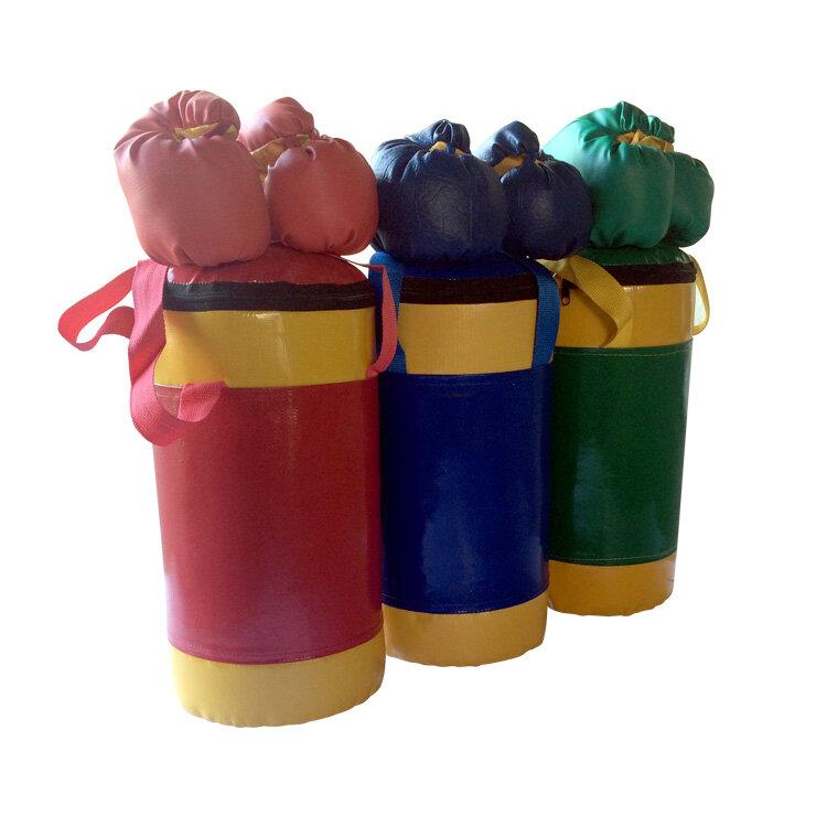 КМС Набор боксерский детский № 2 - мешок боксерский 5 кг, перчатки, трос красно/желтый