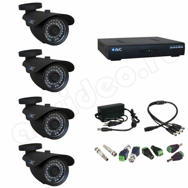 Уличный готовый комплект видеонаблюдения на 4 камеры AVC 4-2 Full HD 1080p для дачи
