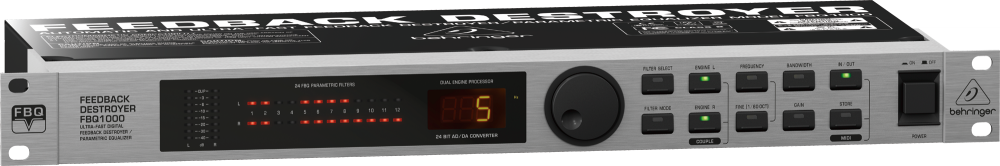 Behringer FBQ1000 FEEDBACK DESTROYER Цифровой подавитель обратной связи. Встроен микрофонный предусилитель, задержка, noise gate, компрессор. Подключение: XLR, TRS.