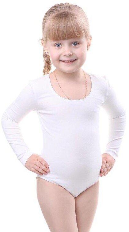 Комбидрес (гимнастический купальник) для девочки Barkito Белый