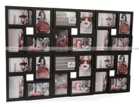 Пластиковая фоторамка, мультирамка для 24 фото 10х15, большое панно, чёрная GF 3857