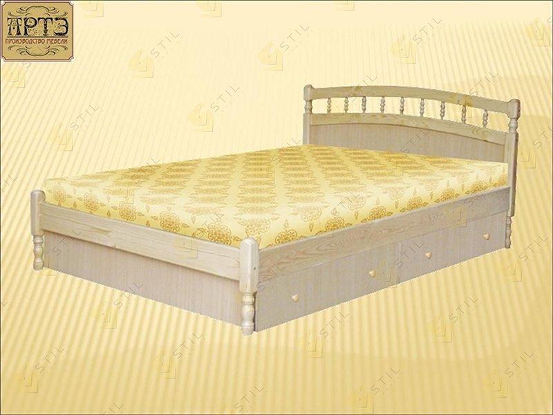 Белая двухспальная кровать из массива сосны фабрики Стиль Василиса