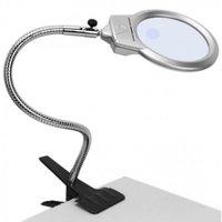 Лупа настольная на прищепке с LED подсветкой Magnifier 2x/5x 130мм MG15122-1C