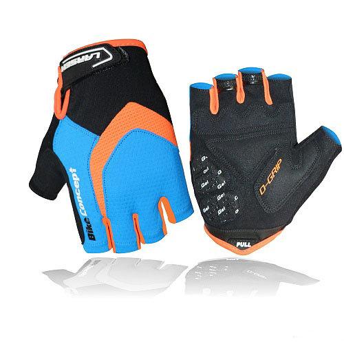 Велоперчатки Larsen 01-2822, цвет: голубой, оранжевый, размер: S