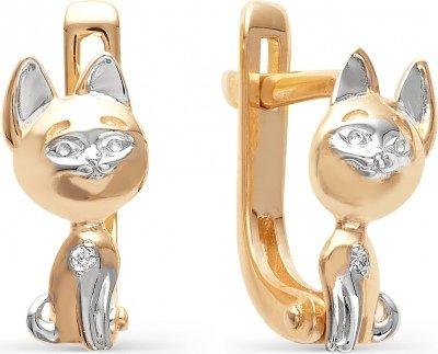 Серьги Кошки с бриллиантами из красного золота
