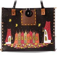 99cdcbda0f00 Кожаная сумка-планшет Ночной город, горизонтальная, черный фон, дизайн 1