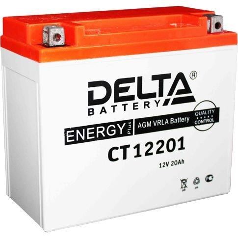 Аккумулятор мотоциклетный Delta CT 12201 YTX20L-BS, YTX20HL-BS, YB16L-B, YB18L-A 12V 20Ah AGM(залит и готов к применению)