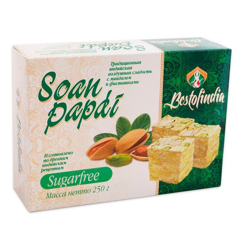 Воздушные индийские сладости без сахара Соан Папди Без Сахара Бестофиндия (Bestofindia Soan Papdi Sugarfree), 250г