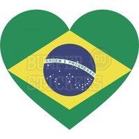 """Переводная татуировка """"Сердце Флаг Бразилии (Бразильский Флаг в форме сердца)"""""""