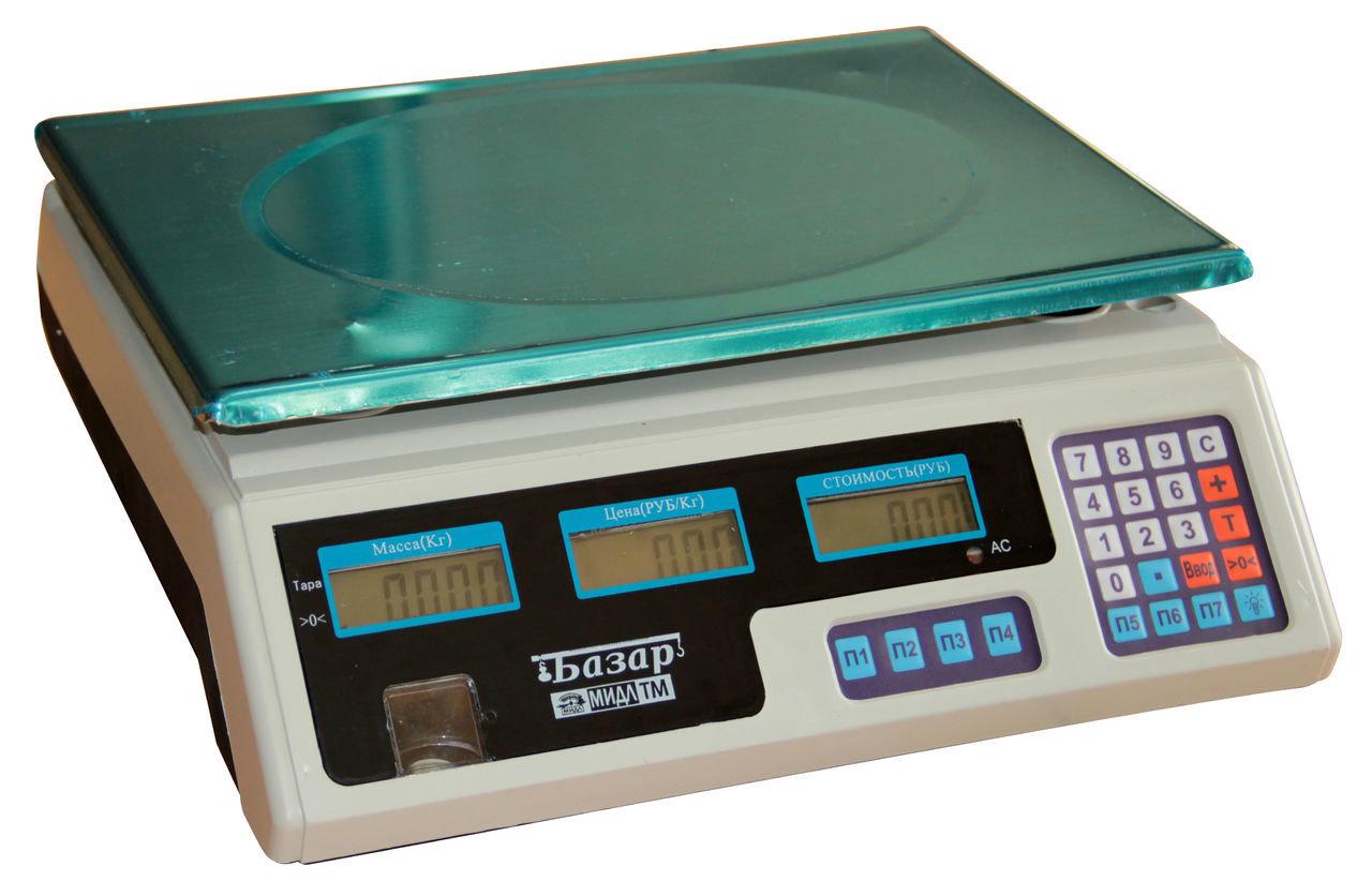 """Весы торговые электронные мидл МТ 30 МЖА (5/10; 230x340) """"Базар Т"""", технологические"""
