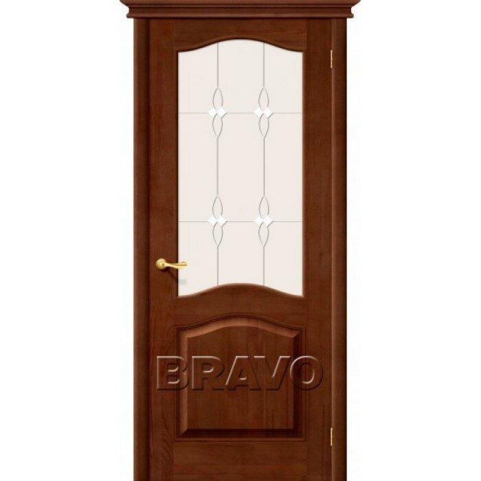 Межкомнатная дверь из Массива М7 ПО темный лак Белорусские двери Цвет: Темный лак Остекленная Браво, Размер 200*60