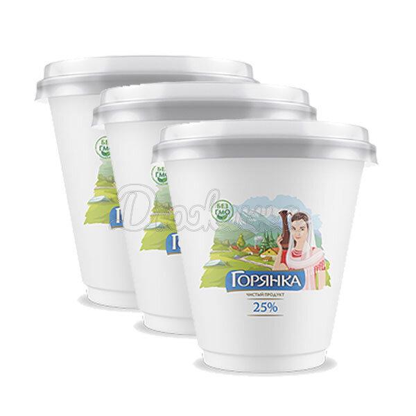 Сметанный продукт Горянка 25% жирности 400 г x 3 шт