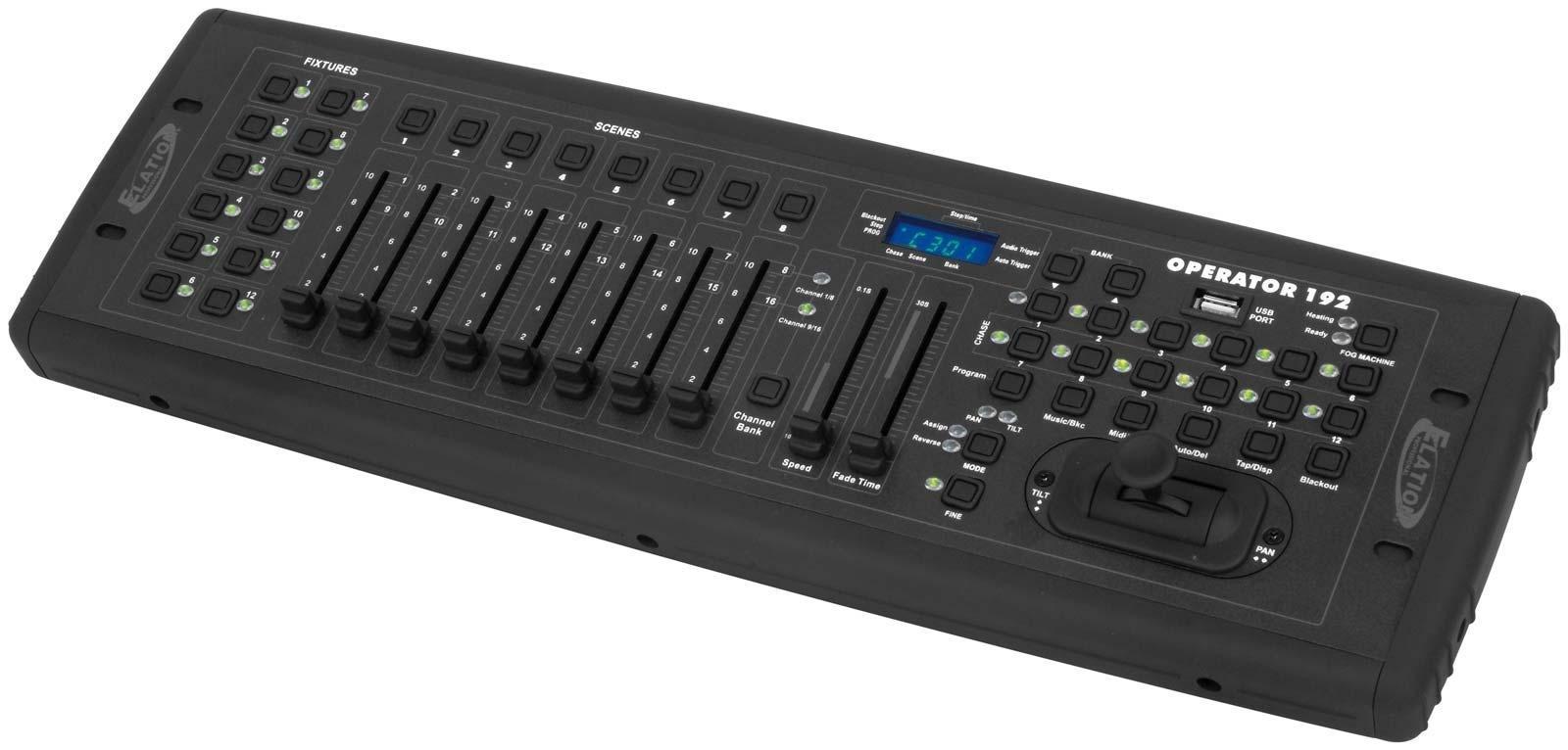 """American DJ DMX Operator I пульт управления светом DMX , 192 канала (12 приборов по 16 каналов каждый), 240 сцен, 6 чейзов, возможность встраивания в РЭК-19"""" ,встроенный микрофон, совместим с MIDI-стандартом, ЖК-дисплей, Габариты: 133х483х64 мм. Вес: 2,3"""