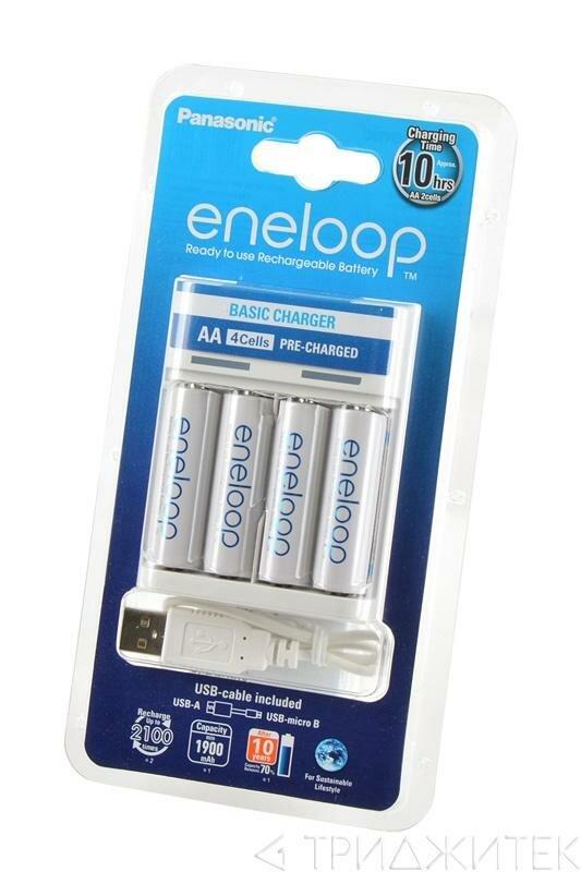 Зарядное устройство для аккумуляторов (элементов питания) Panasonic eneloop K-KJ61MCC40USB Basic Charger + 4АА1900мАч BL1