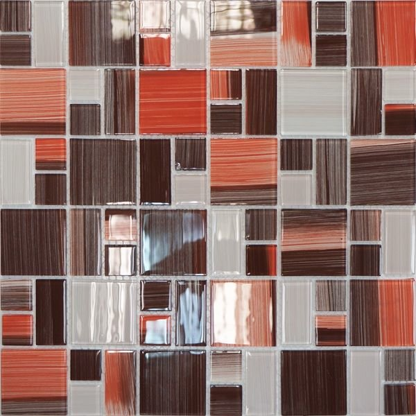Мозаика 32,7х32,7 Crystal (терракотовая полосатая mix size) Elada Mosaic [JSM-CH1021]