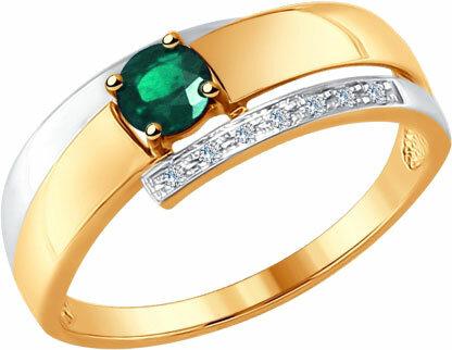 Золотое кольцо SOKOLOV 3010546_s с изумрудом, бриллиантами, размер 17 мм