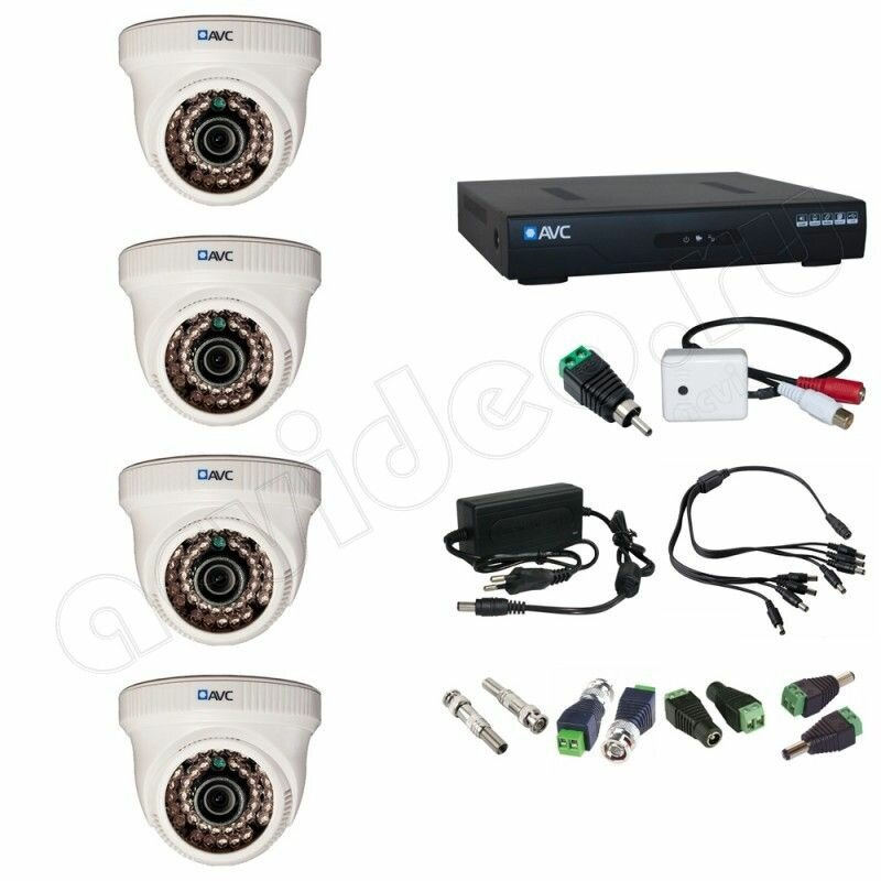 Комплект видеонаблюдения AVC 4-1-1 Full HD на 4 камеры с микрофоном