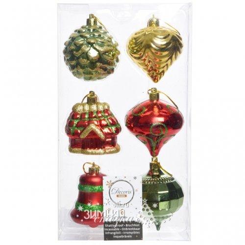 Kaemingk Набор елочных игрушек Новогодний Микс 6 см, 6 шт, подвеска 027522