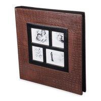Фотоальбом BRAUBERG на 500 фотографий 10х15 см, обложка под кожу крокодила, коричневый