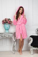 Нежно-розовый теплый халат из велсофта с капюшоном