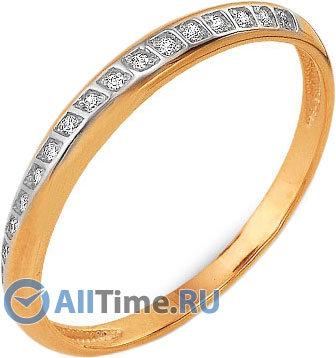 Золотое обручальное кольцо Ювелирные Традиции, изделие Ko112-358 с бриллиантами, размер 16,5 мм