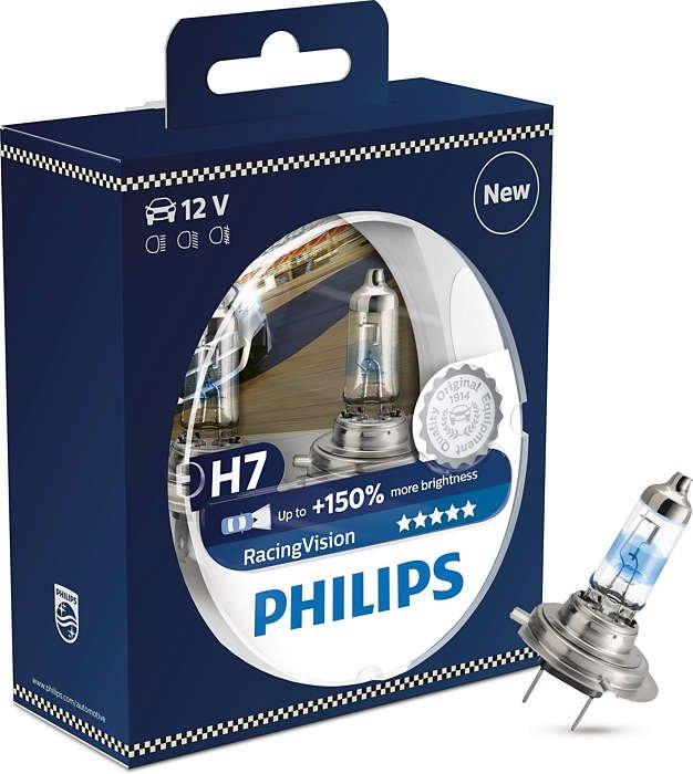 Лампа галогенная PHILIPS Racing Vision +150% H7 12V 55W (PX26d), 2шт, 12972RVS2