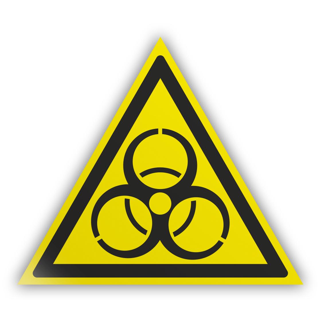 Знак на пленке W16 «Осторожно! биологическая опасность (инфекционные вещества)» (самоклеящаяся наклейка, сторона 200 мм)