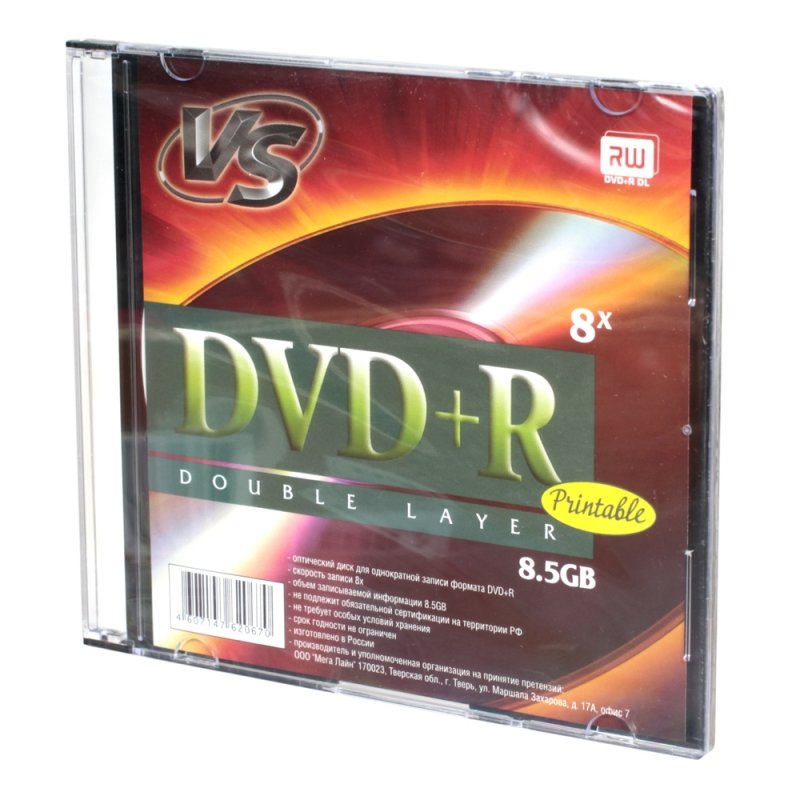 Диск VS DVD+R 8.5 GB 8x Double Layer SL Ink Print