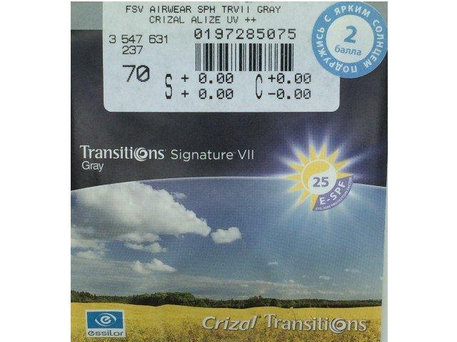 Линзы для очков Essilor Airwear 1.59 Transitions Signature VII Crizal Alize+ UV серый/коричневый
